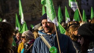 Danish teachers protest during teacher lockout.