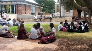 Australian students in their final year of high school take a break during a conference about what to do after graduation. The country is trying to boost its high school completion rates to 90 percent. (Photo: Sarah Butrymowicz)